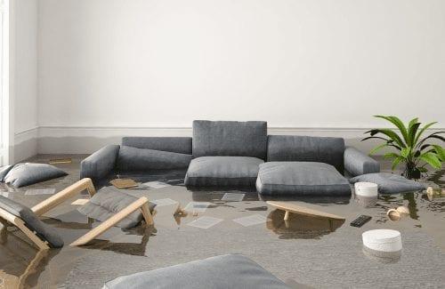 sofa sitting in water - continuum restoration