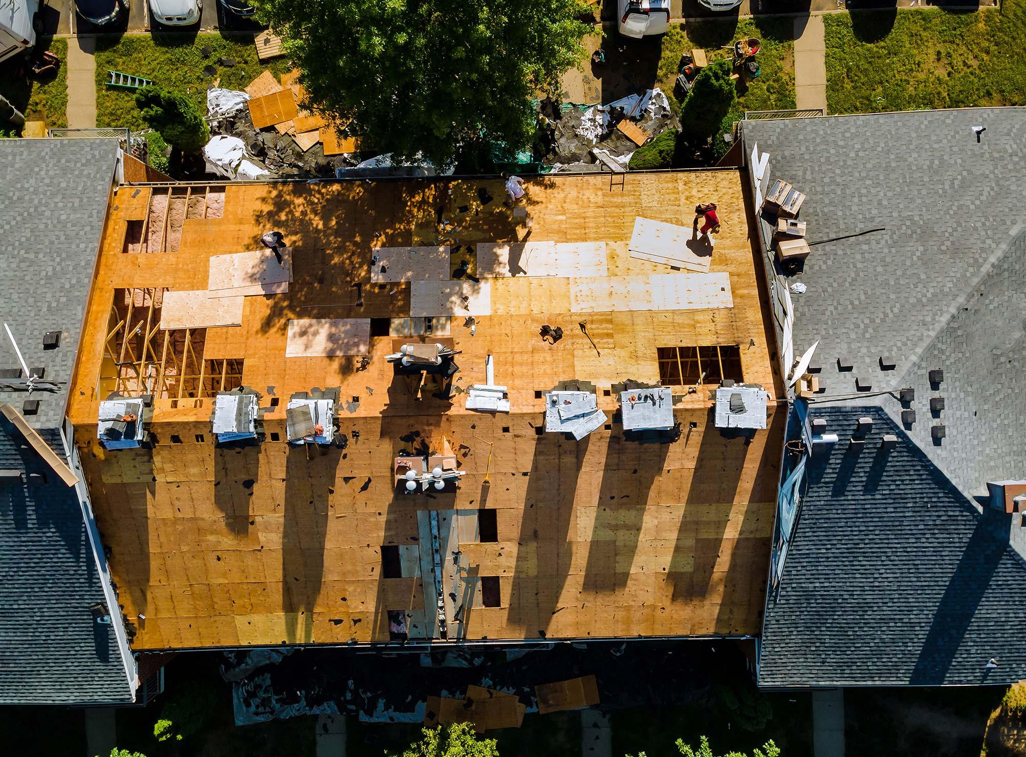 Aerial Shot of Roof damage Repair